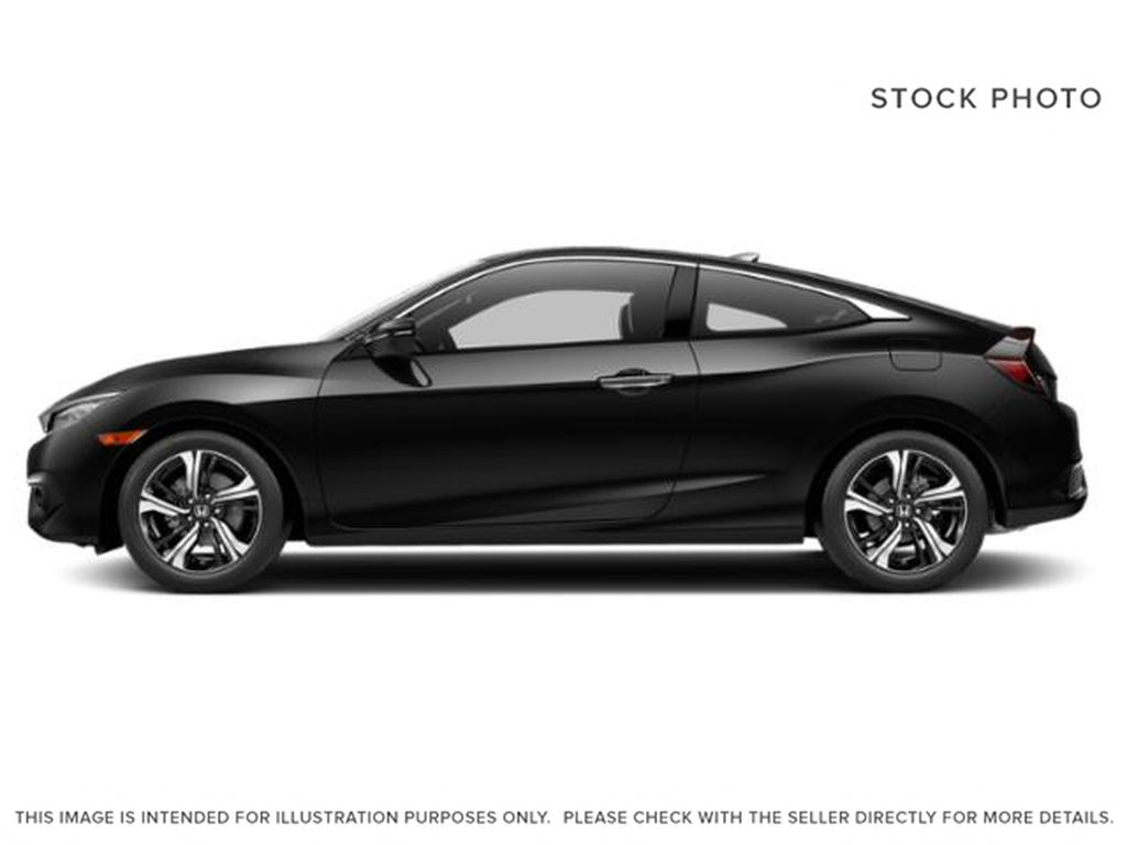Black[Crystal Black Pearl] 2018 Honda Civic Coupe Touring Left Side Photo in Calgary AB