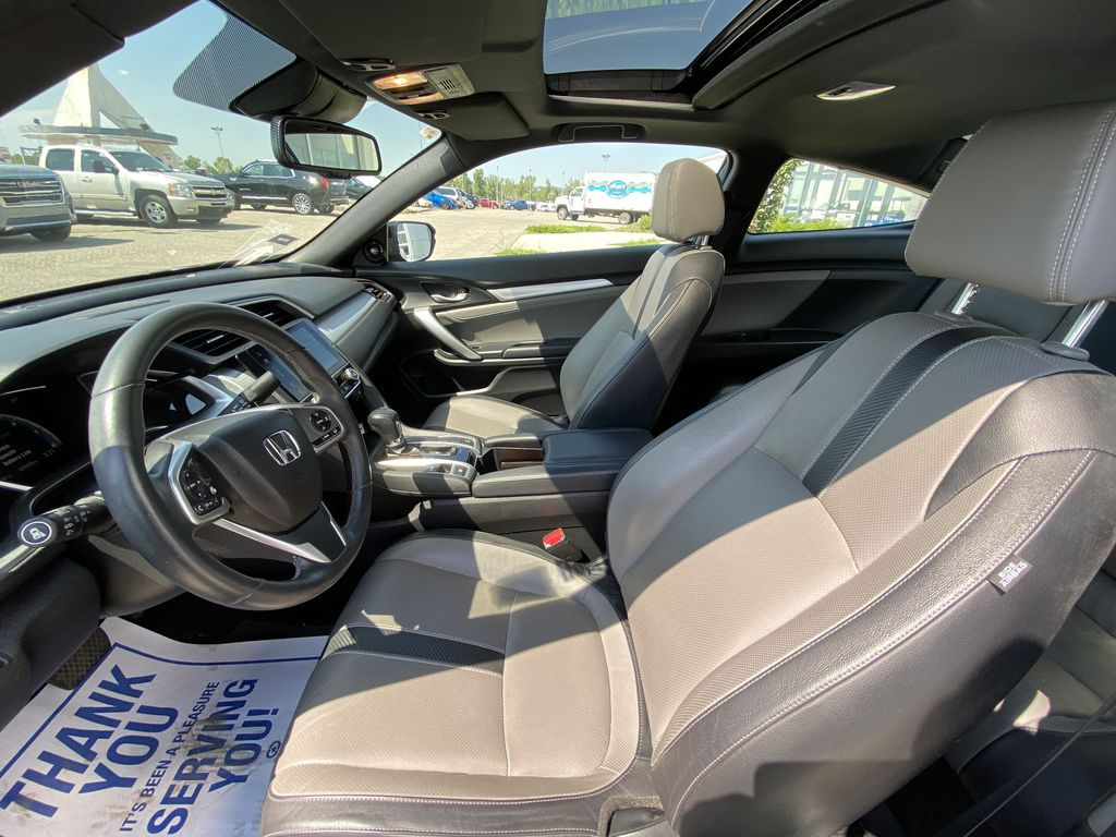 Black[Crystal Black Pearl] 2018 Honda Civic Coupe Touring Left Front Interior Photo in Calgary AB
