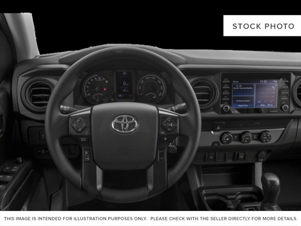 Blue[Voodoo Blue] 2021 Toyota Tacoma Steering Wheel and Dash Photo in Fort Macleod AB