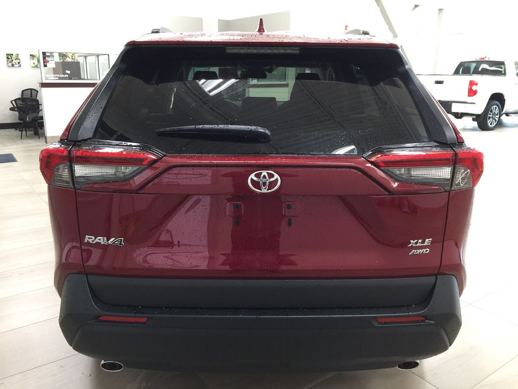 Red[Ruby Flare Pearl] 2021 Toyota RAV4 XLE AWD Rear of Vehicle Photo in Sherwood Park AB