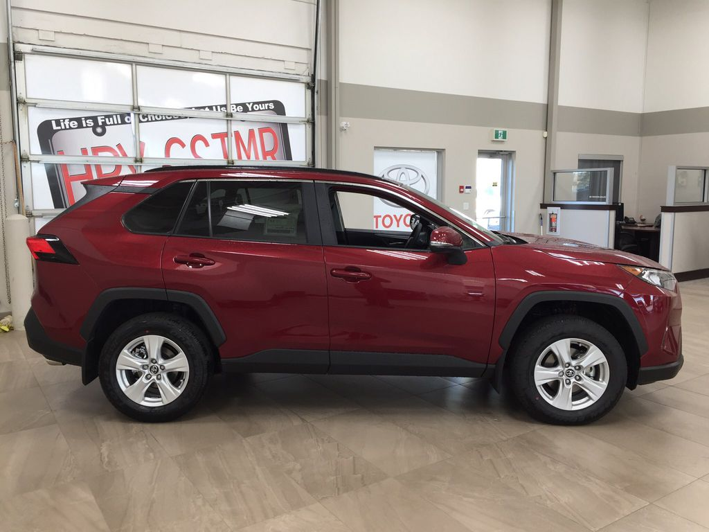 Red[Ruby Flare Pearl] 2021 Toyota RAV4 XLE AWD Right Side Photo in Sherwood Park AB