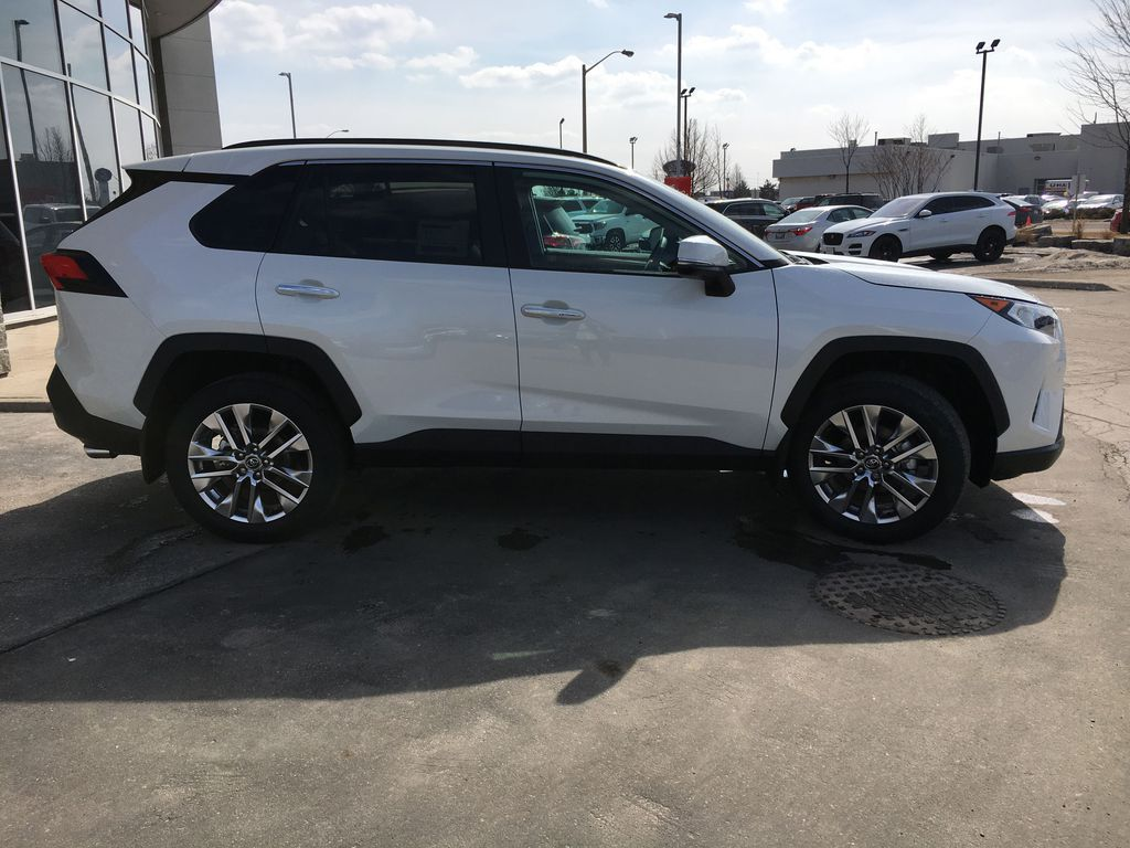 White[Blizzard Pearl] 2021 Toyota RAV4 AWD Limited Package D1RFVT AB Right Front Corner Photo in Brampton ON
