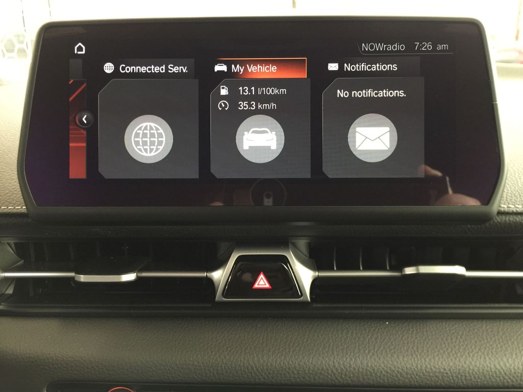 Red[Renaissance Red 2.0] 2021 Toyota GR Supra Infotainment Closeup Photo in Sherwood Park AB