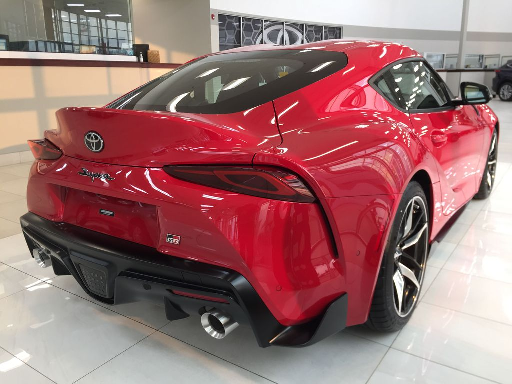 Red[Renaissance Red 2.0] 2021 Toyota GR Supra Right Rear Corner Photo in Sherwood Park AB