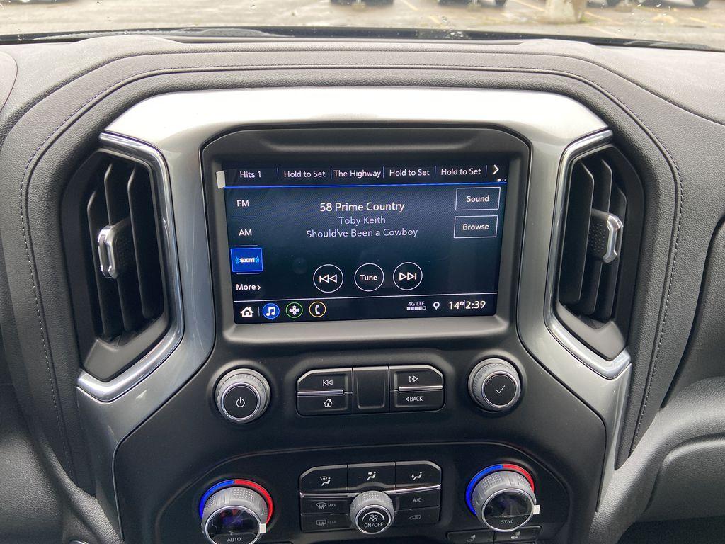 Blue[Northsky Blue Metallic] 2021 Chevrolet Silverado 1500 RST Radio Controls Closeup Photo in Calgary AB