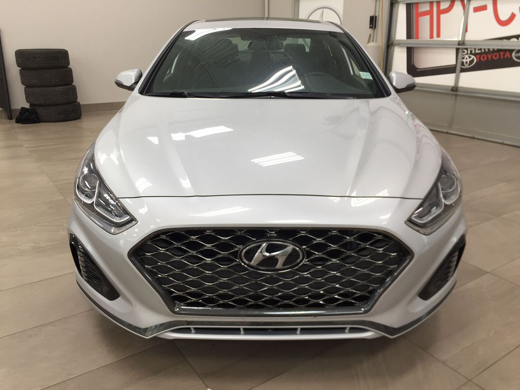 Silver[Platinum Silver] 2019 Hyundai Sonata SPORT PACKAGE Front Vehicle Photo in Sherwood Park AB