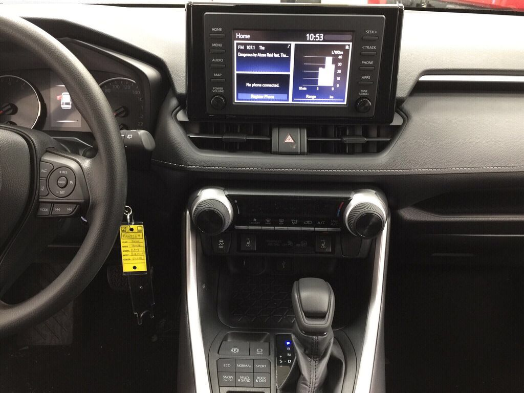 Silver[Silver Sky Metallic] 2021 Toyota RAV4 LE AWD Central Dash Options Photo in Sherwood Park AB