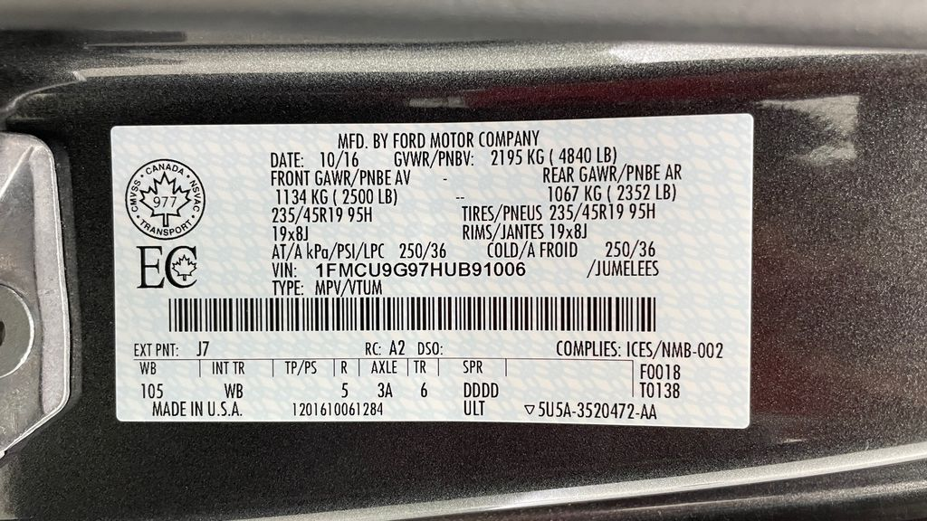 Gray[Magnetic] 2017 Ford Escape SE 4WD - Sport Package w/ Black Wheels / Grille DOT Label Photo in Winnipeg MB
