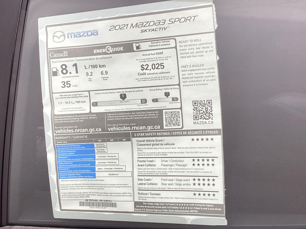 TITANIUM FLASH MICA(42S) 2021 Mazda Mazda3 Sport GT Premium FWD Window Sticker Photo in Edmonton AB
