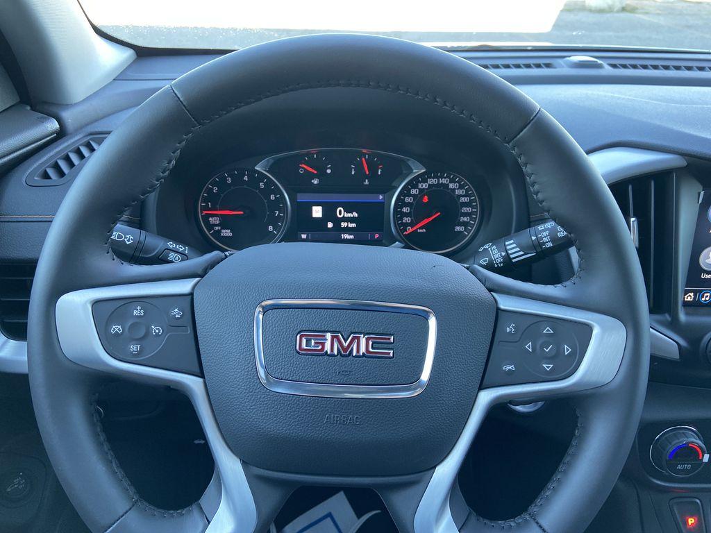 Black[Ebony Twilight Metallic] 2020 GMC Terrain SLE Steering Wheel and Dash Photo in Calgary AB