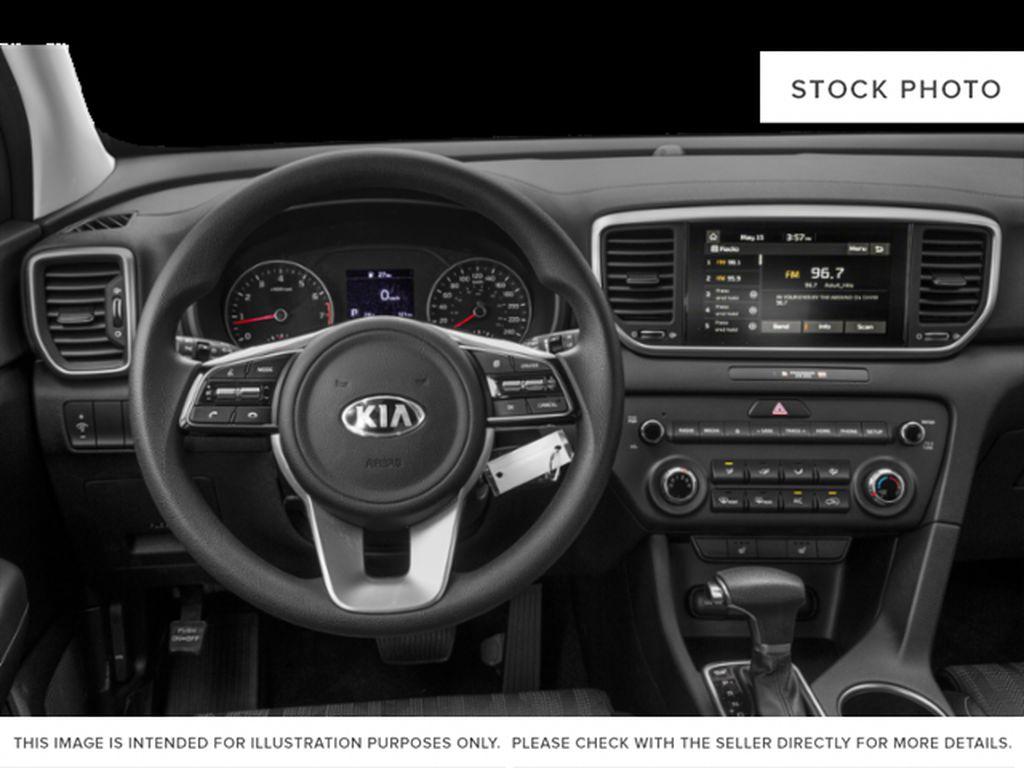 Black[Black Cherry] 2021 Kia Sportage Steering Wheel and Dash Photo in Lethbridge AB