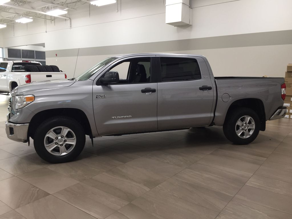 Silver[Silver Sky Metallic] 2017 Toyota Tundra CREWMAX 5.7L SR5 Left Side Photo in Sherwood Park AB