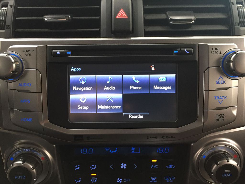 White[Blizzard Pearl] 2019 Toyota 4Runner Limited Infotainment Closeup Photo in Sherwood Park AB