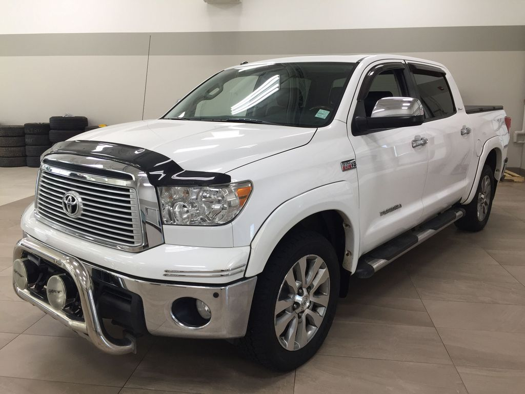 White[Alpine White] 2012 Toyota Tundra LIMITED CREWMAX 5.7L Left Front Corner Photo in Sherwood Park AB