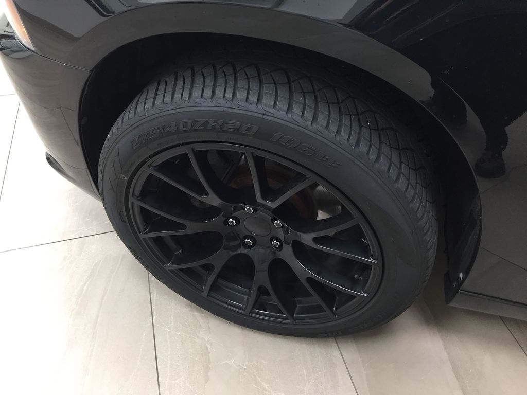 Black[Phantom Black Tri-Coat Pearl] 2014 Dodge Charger R/T LEATHER SUNROOF Left Front Rim and Tire Photo in Sherwood Park AB