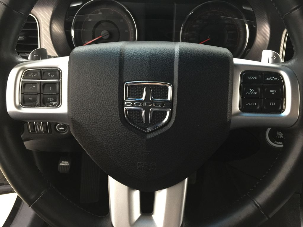 Black[Phantom Black Tri-Coat Pearl] 2014 Dodge Charger R/T LEATHER SUNROOF Steering Wheel and Dash Photo in Sherwood Park AB