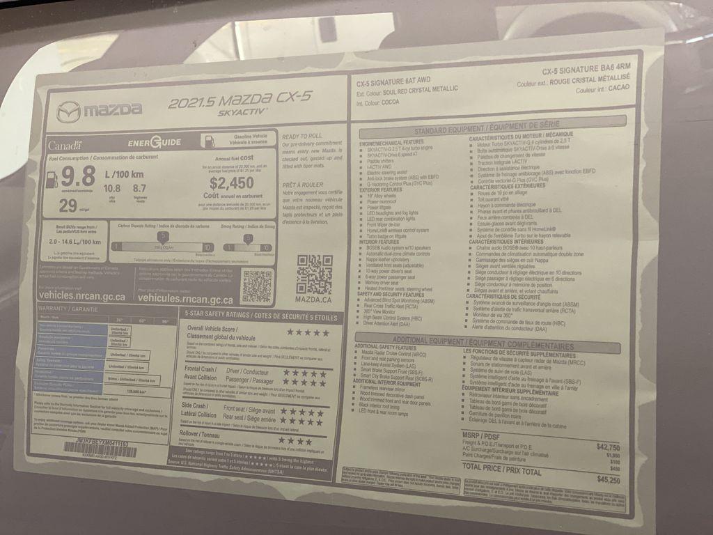 SOUL RED CRYSTAL METALLIC(46V) 2021.5 Mazda CX-5 Signature AWD Window Sticker Photo in Edmonton AB