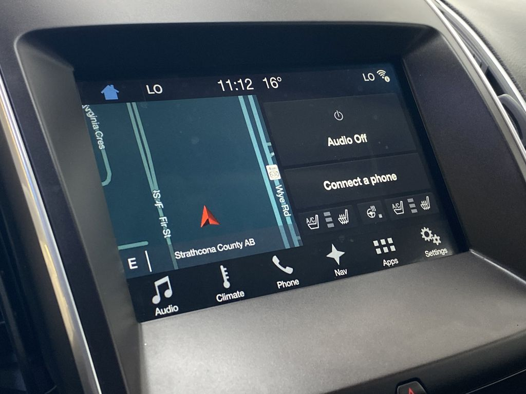 WHITE 2017 Ford Edge Titanium - NAV, Apple CarPlay, Remote Start Radio Controls Closeup Photo in Edmonton AB