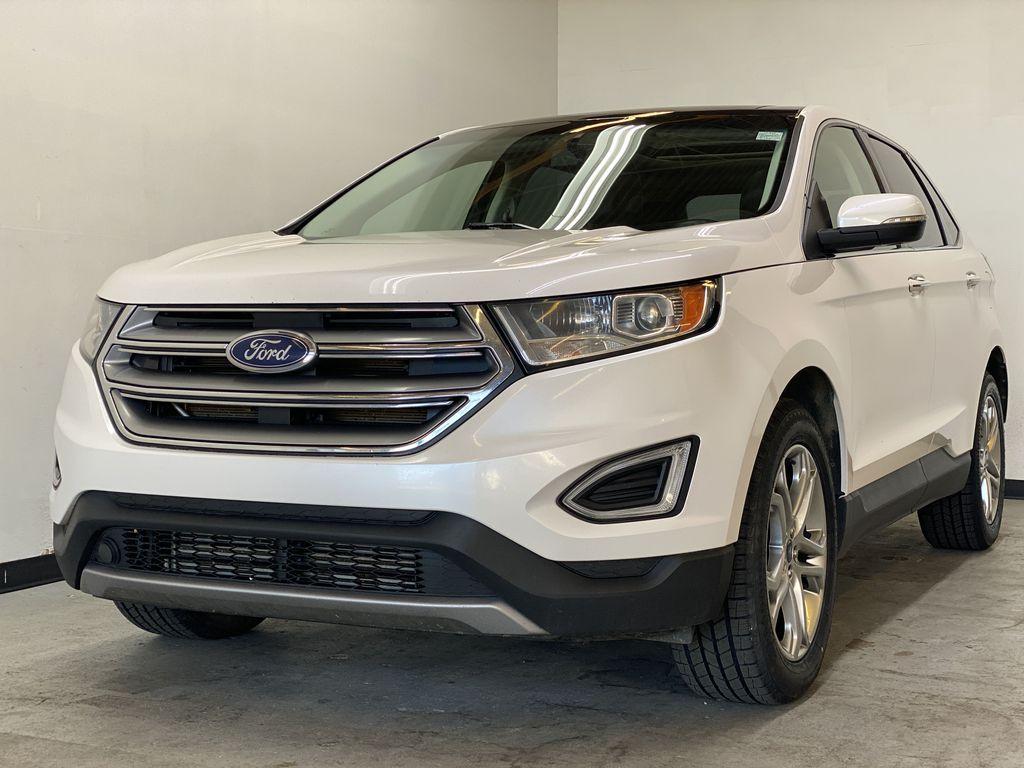 WHITE 2017 Ford Edge Titanium - NAV, Apple CarPlay, Remote Start Left Front Corner Photo in Edmonton AB