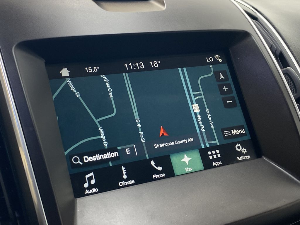 WHITE 2017 Ford Edge Titanium - NAV, Apple CarPlay, Remote Start Navigation Screen Closeup Photo in Edmonton AB