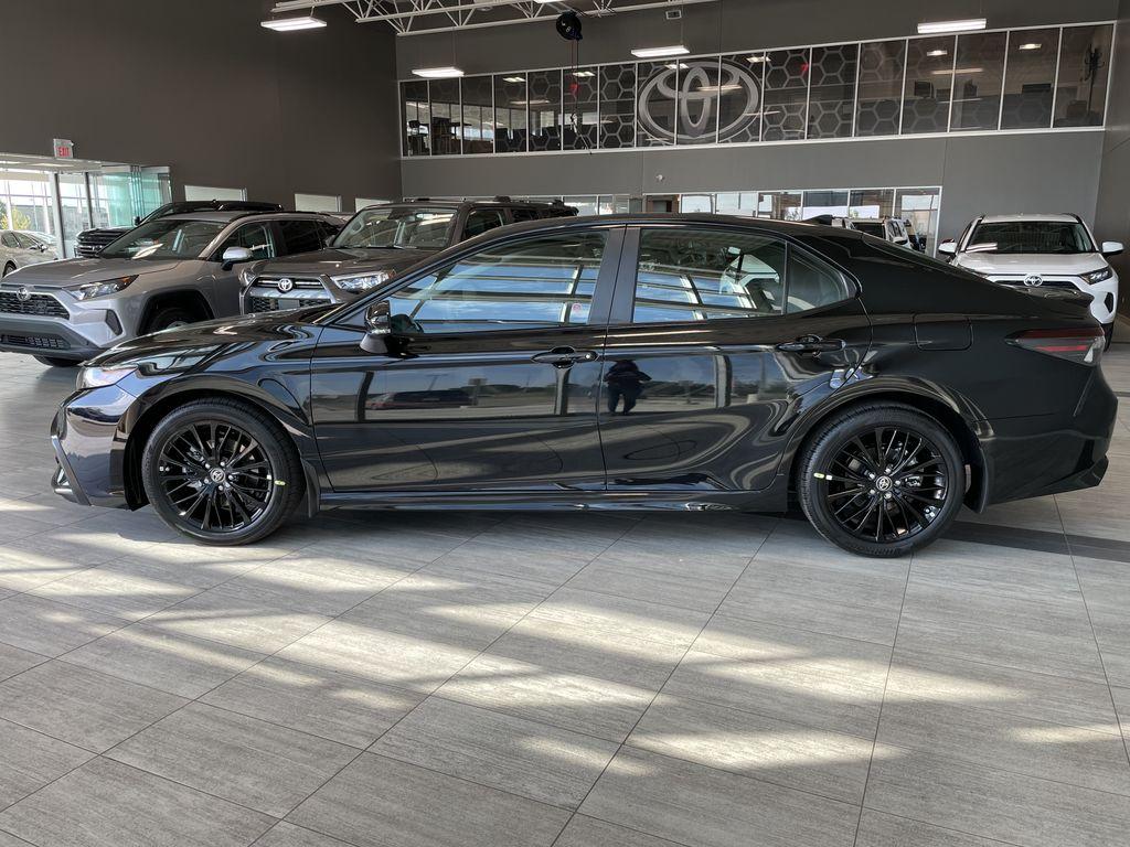Midnight Black Metallic 2021 Toyota Camry SE AWD Nightshade Left Side Photo in Edmonton AB