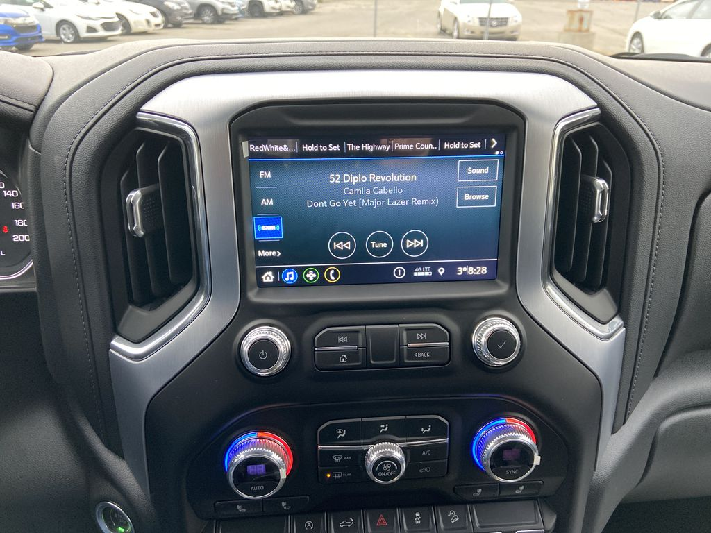 Black[Onyx Black] 2021 GMC Sierra 1500 AT4 Radio Controls Closeup Photo in Calgary AB