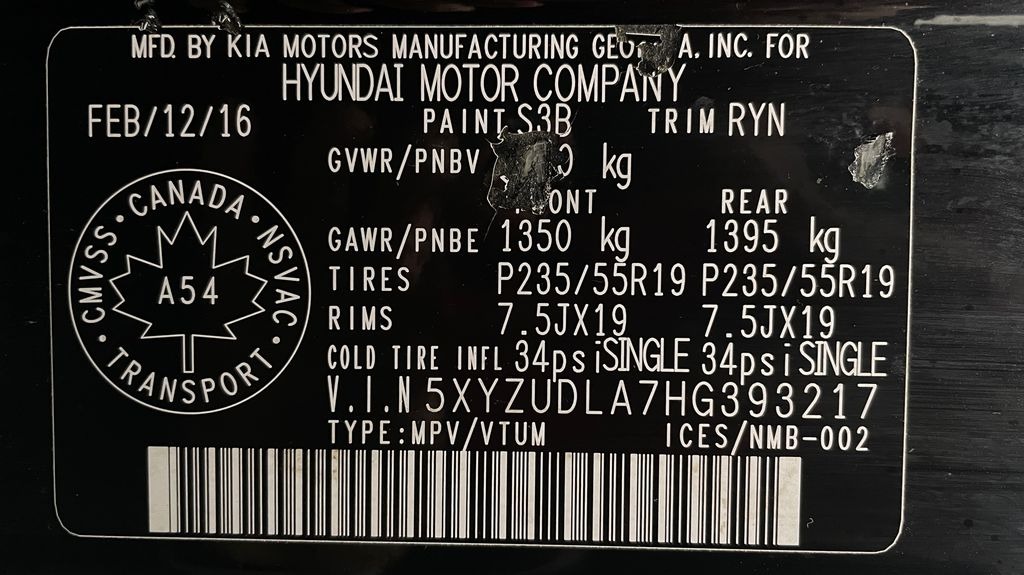 Black[Twilight Black] 2017 Hyundai Santa Fe Sport Limited 2.0T AWD - Panoramic Roof, Leather DOT Label Photo in Winnipeg MB