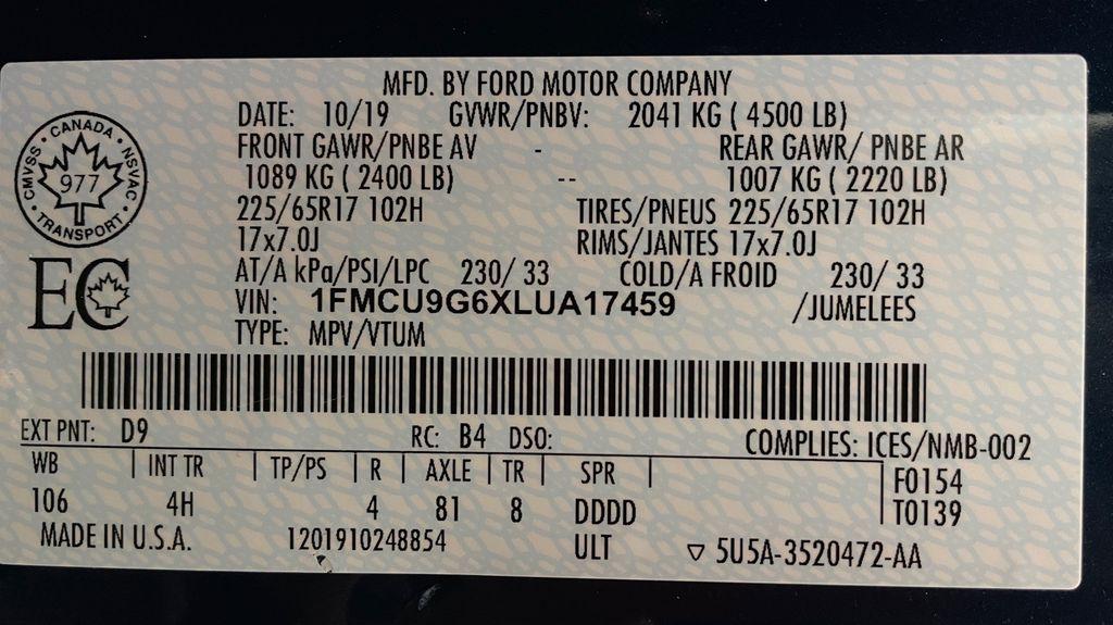 Blue[Blue Metallic] 2020 Ford Escape SE AWD - Apple CarPlay / Android Auto, Bluetooth DOT Label Photo in Winnipeg MB