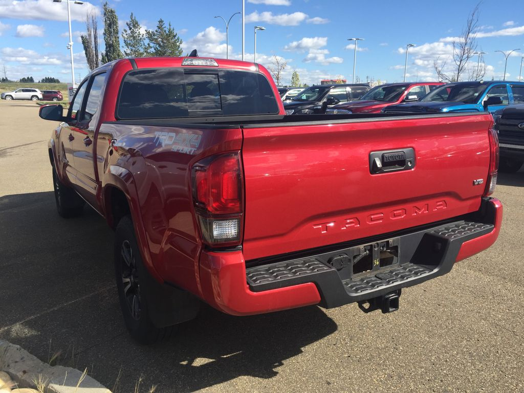 RED 2019 Toyota Tacoma DOUBLE CAB TRD SPORT 4X4 Left Rear Corner Photo in Sherwood Park AB