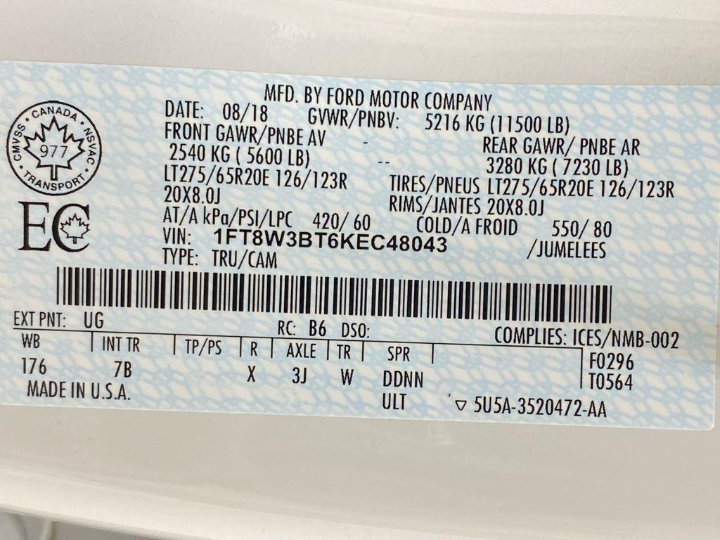 WHITE 2019 Ford Super Duty F-350 SRW Platinum - 360º Camera, Massage Seats, 5th Wheel Hitch Window Sticker Photo in Edmonton AB