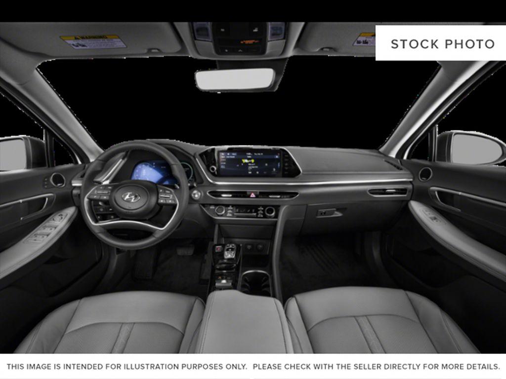 Silver[Shimmering Silver] 2022 Hyundai Sonata Hybrid Strng Wheel/Dash Photo: Frm Rear in Ottawa ON