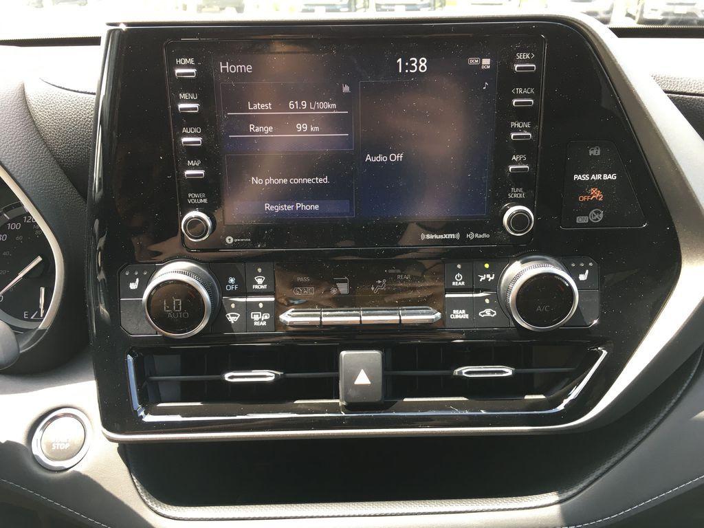 Gray[Magnetic Grey Metallic] 2021 Toyota Highlander AWD XLE Package GZRBHT AM Strng Wheel/Dash Photo: Frm Rear in Brampton ON