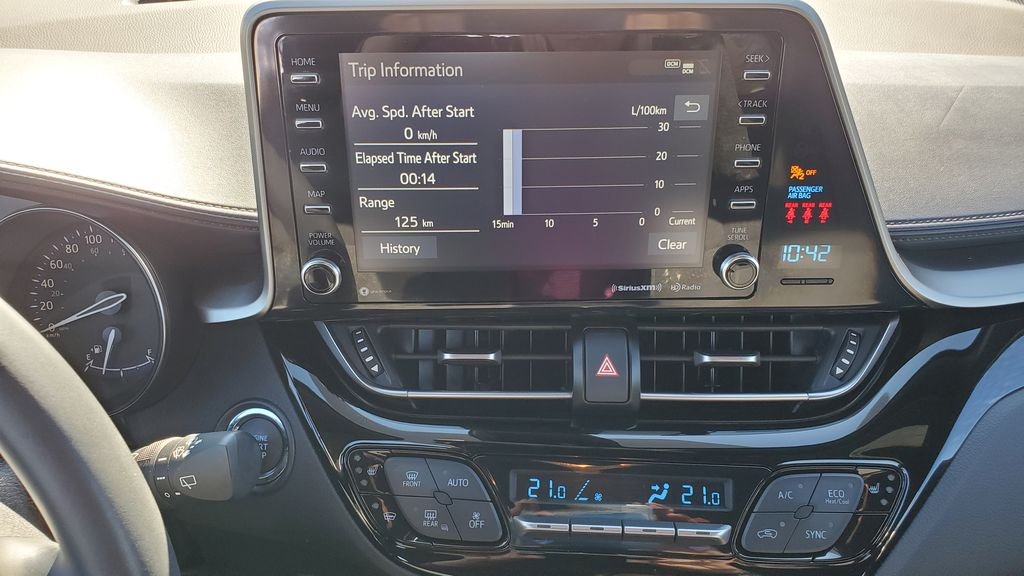 White[Blizzard Pearl with Black Roof] 2019 Toyota C-HR Central Dash Options Photo in Kelowna BC