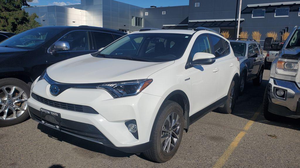 White[Alpine White] 2017 Toyota RAV4 Hybrid Left Front Corner Photo in Kelowna BC