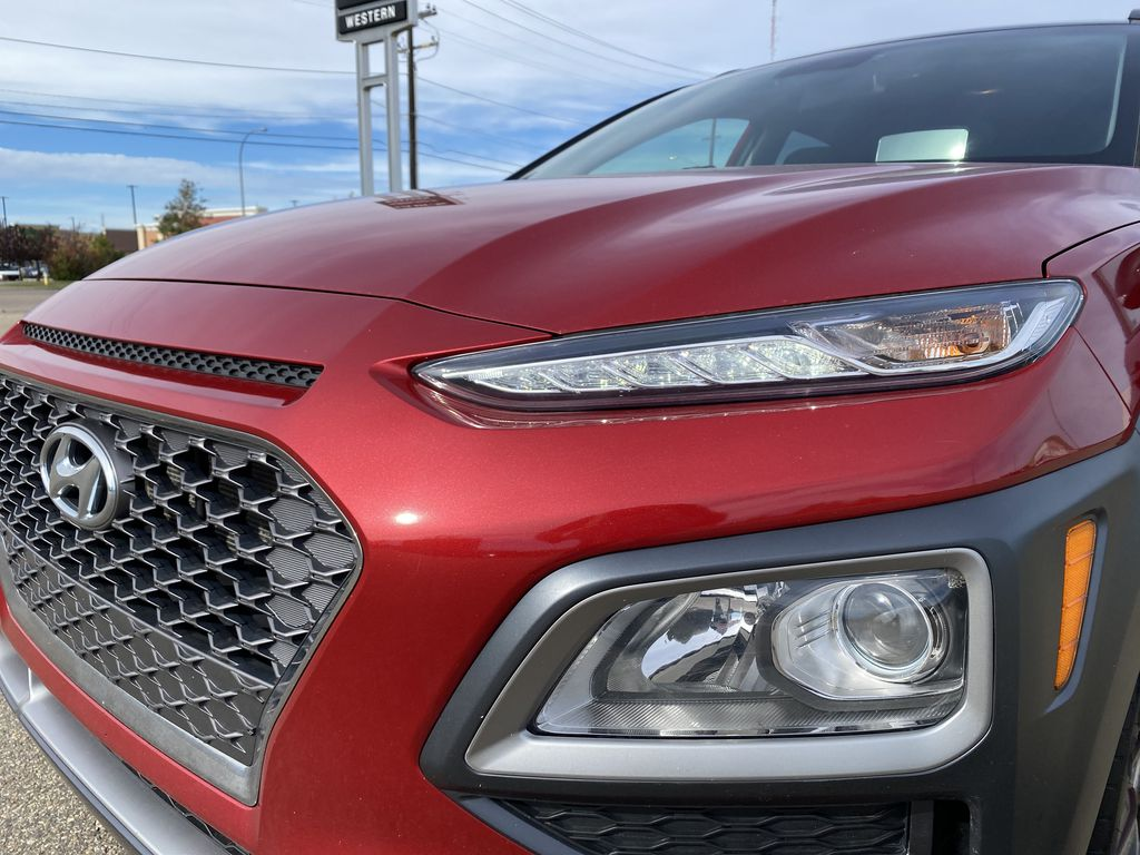 Red[Pulse Red w/Black Roof] 2018 Hyundai Kona Left Front Head Light / Bumper and Grill in Edmonton AB