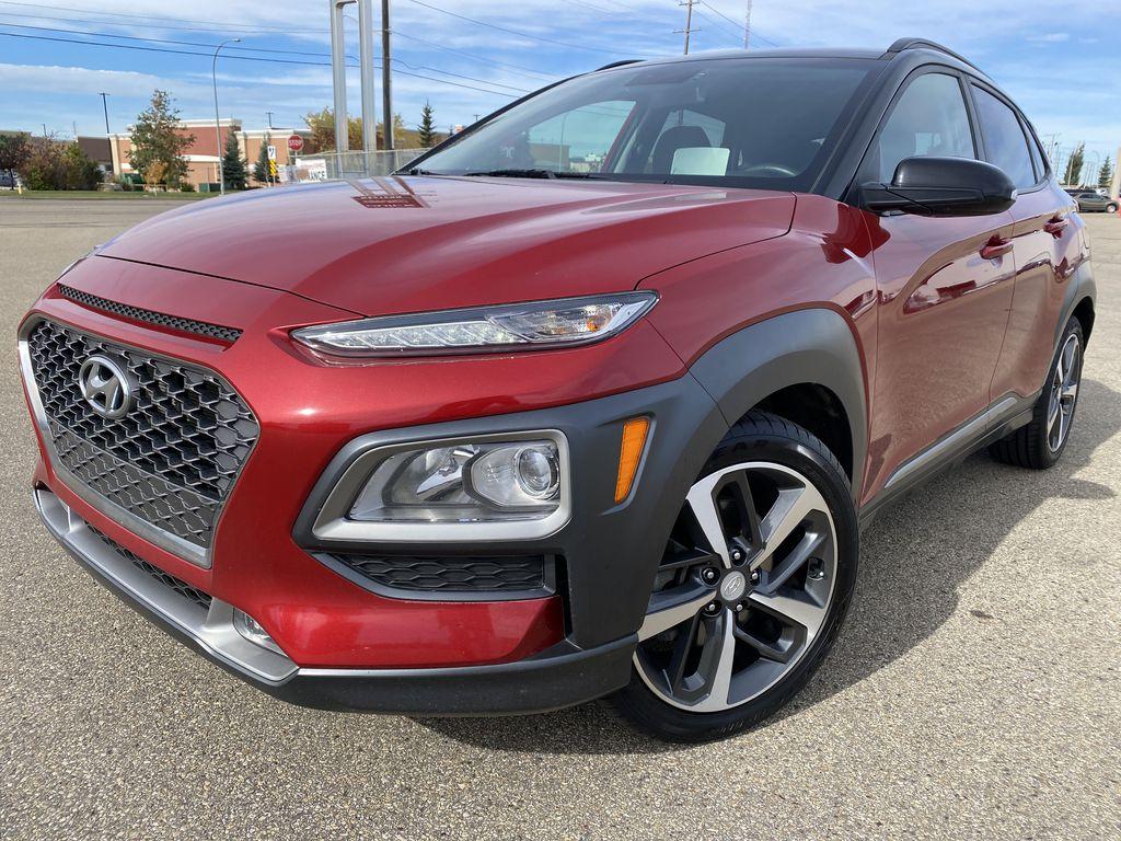 Red[Pulse Red w/Black Roof] 2018 Hyundai Kona Left Front Corner Photo in Edmonton AB