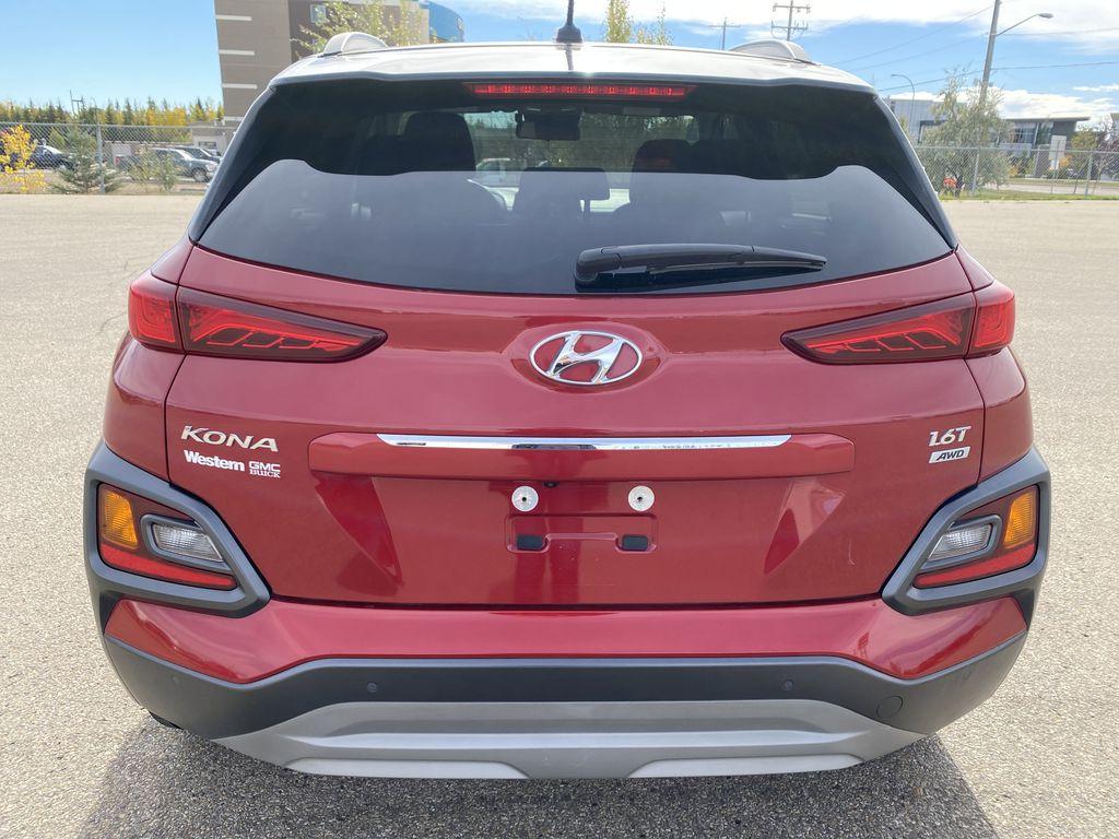 Red[Pulse Red w/Black Roof] 2018 Hyundai Kona Rear of Vehicle Photo in Edmonton AB