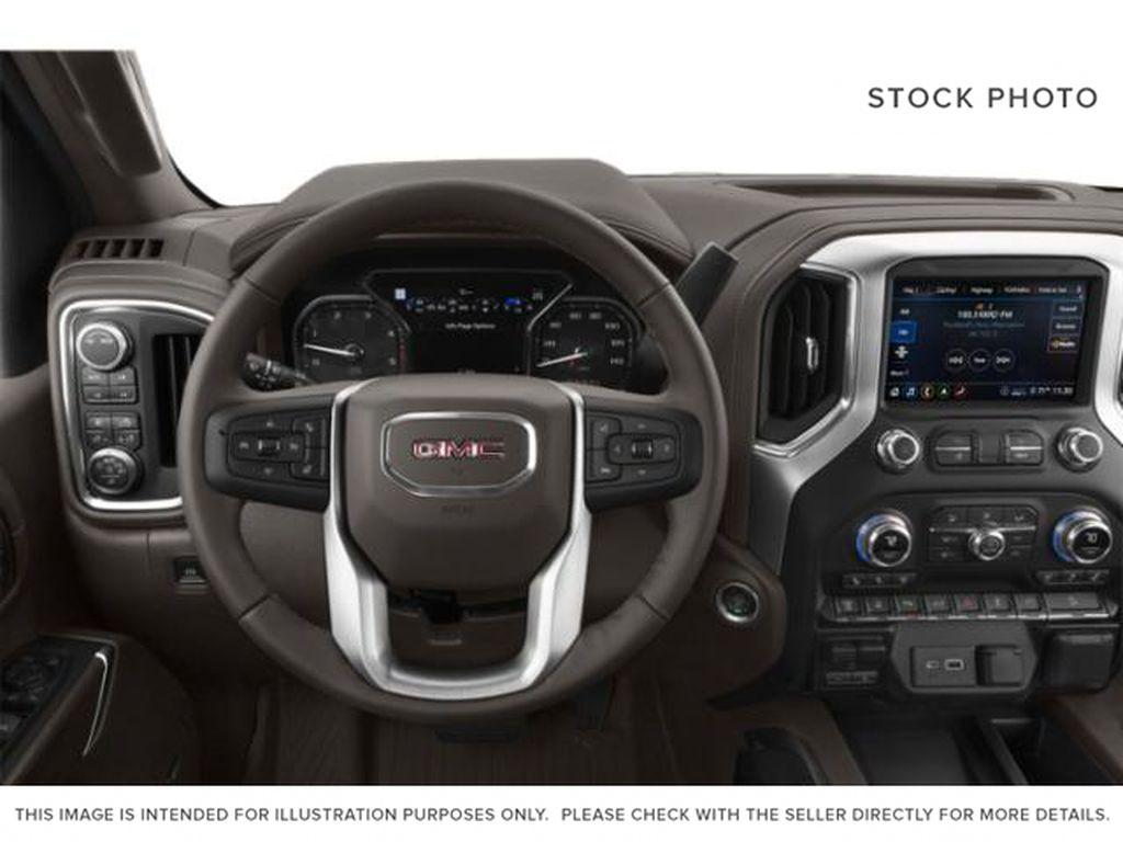 Silver[Quicksilver Metallic] 2021 GMC Sierra 3500HD Steering Wheel and Dash Photo in Fort Macleod AB