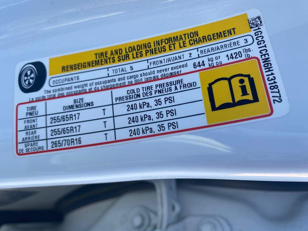 White[Summit White] 2017 Chevrolet Colorado DOT Label Photo in Edmonton AB