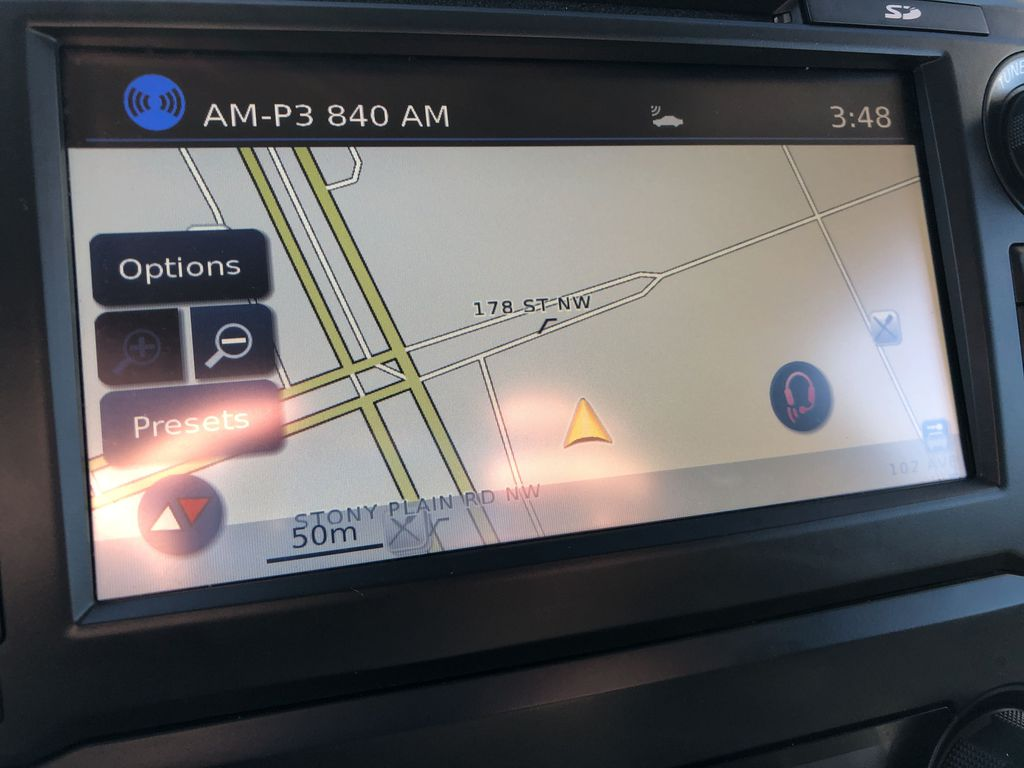 White[Glacier White] 2018 Nissan Titan XD Navigation Screen Closeup Photo in Edmonton AB