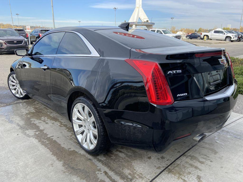 Black[Black Raven] 2017 Cadillac ATS Coupe Left Rear Corner Photo in Calgary AB