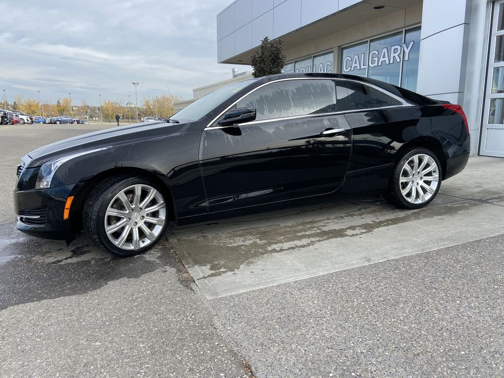 Black[Black Raven] 2017 Cadillac ATS Coupe Left Front Corner Photo in Calgary AB