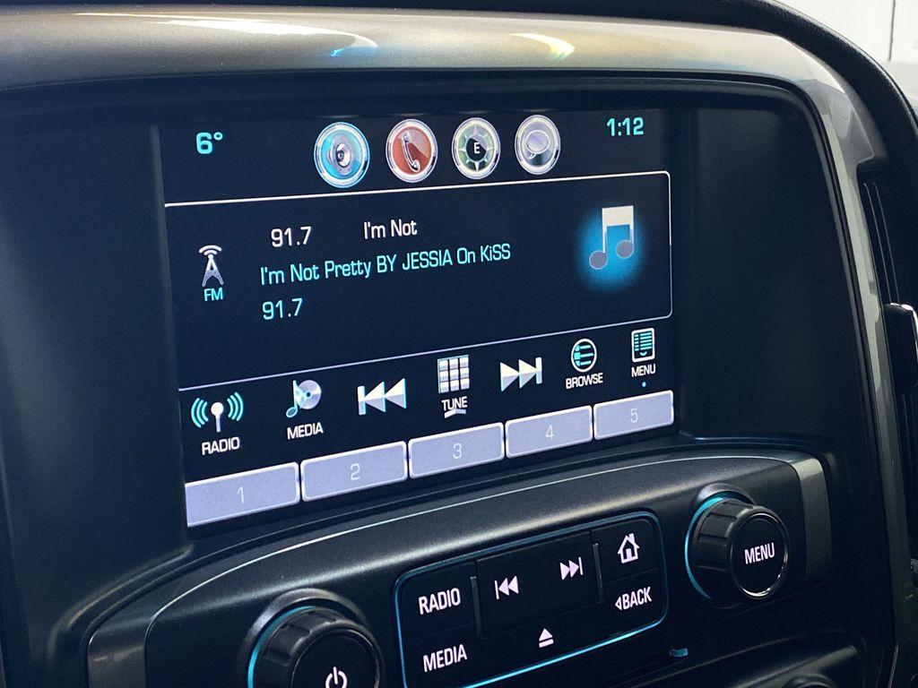 WHITE 2017 Chevrolet Silverado 1500 LTZ - Navigation, Apple CarPlay, Backup Camera Radio Controls Closeup Photo in Edmonton AB