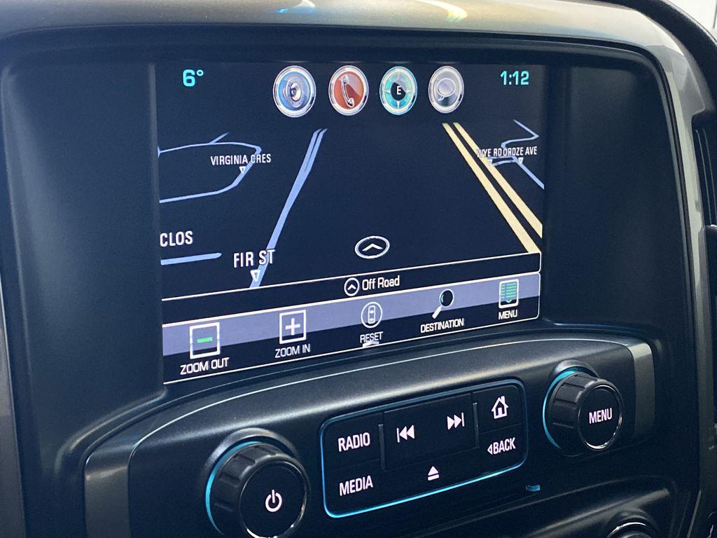 WHITE 2017 Chevrolet Silverado 1500 LTZ - Navigation, Apple CarPlay, Backup Camera Navigation Screen Closeup Photo in Edmonton AB