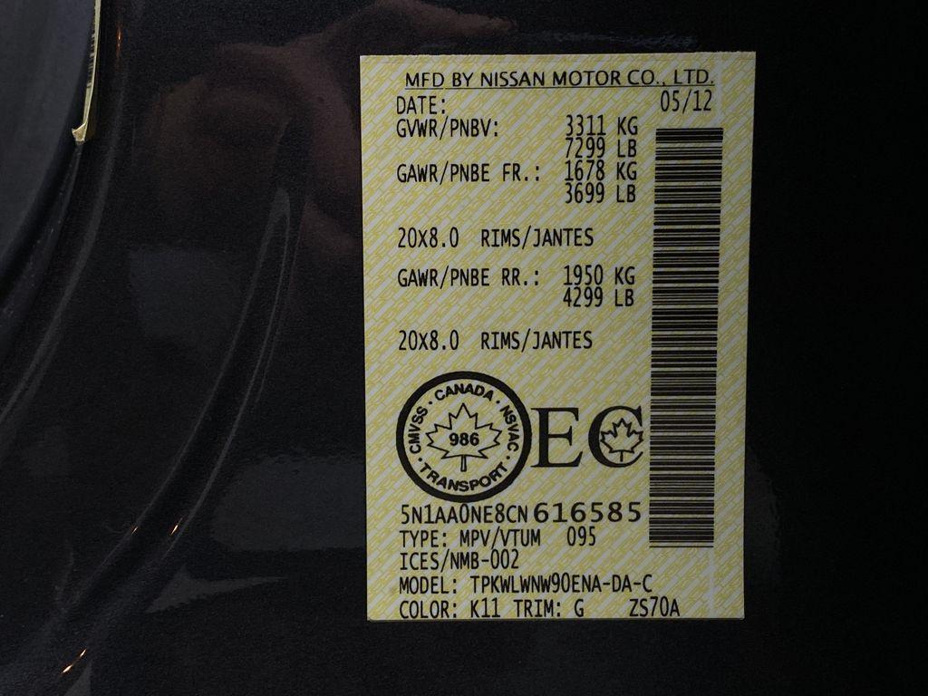 GREY 2012 Nissan Armada Platinum - Backup Camera, Navigation, Remote Start Window Sticker Photo in Edmonton AB