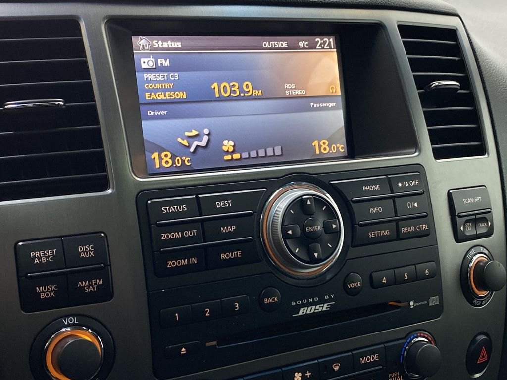 GREY 2012 Nissan Armada Platinum - Backup Camera, Navigation, Remote Start Radio Controls Closeup Photo in Edmonton AB