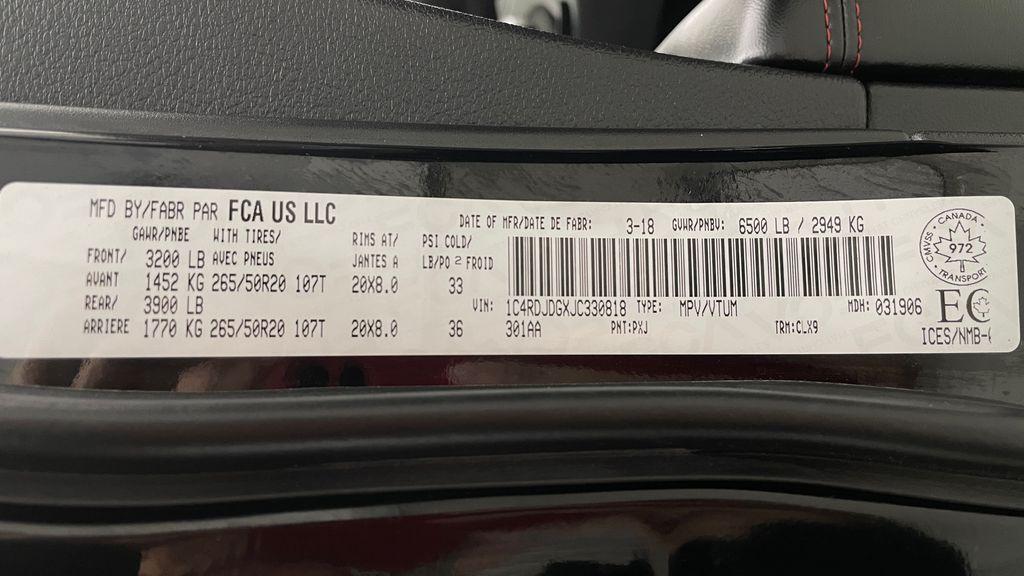 Black[DB Black] 2018 Dodge Durango GT AWD - LOADED, Rear DVD, Sunroof, Navigation DOT Label Photo in Winnipeg MB
