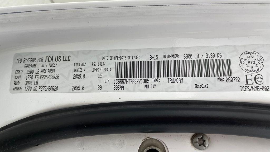 White[Bright White] 2015 Ram 1500 Sport 4WD - Lifted, NAV, Leather, Sunroof DOT Label Photo in Winnipeg MB