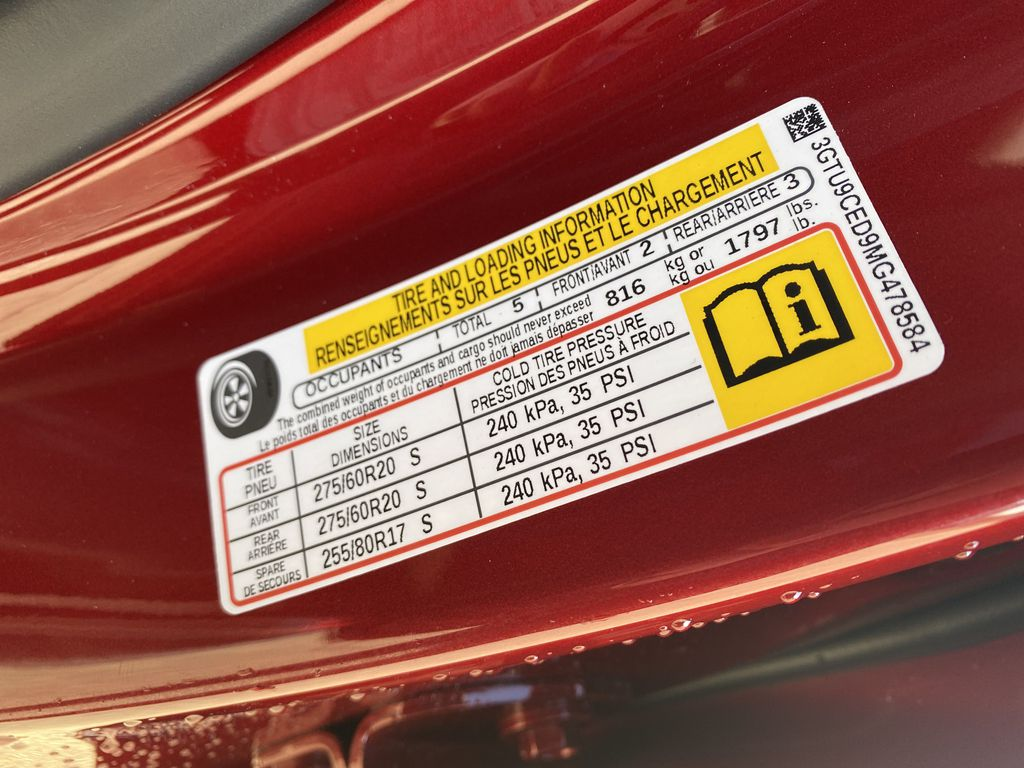 Red[Cayenne Red Tintcoat] 2021 GMC Sierra 1500 DOT Label Photo in Edmonton AB