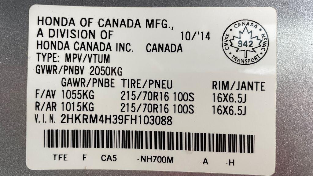 Silver[Alabaster Silver Metallic] 2015 Honda CR-V LX AWD - Backup Camera, Heated Seats DOT Label Photo in Winnipeg MB